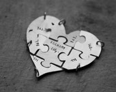 personalized sterling silver heart shape jigsaw puzzle (charms/pendant - custom order) - necklaces