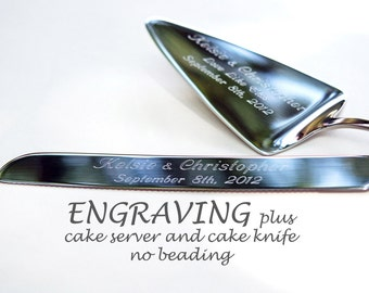 CUSTOM ENGRAVED Cake Server And Knife Set PERSONALIZED Professional Engraving Bride And Groom No Beading