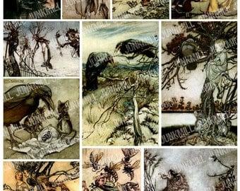 SINISTER SPIRITS - Digital Printable Collage Sheet - Dark Gothic Victorian Fairies, Elves, Crows & Ravens, Arthur Rackham Illustrations