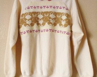 vintage I HEART TEDDY BEAR sweater/jumper