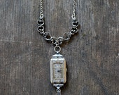 Redesigned ART DECO necklace / 1920's watch necklace with diamonds