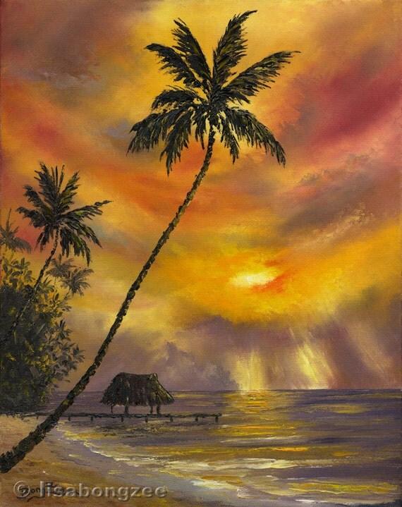 TROPICAL SUNSET Original Palette Knife Oil Painting 16x20 Hawaii Tahiti Caribbean Palm Tree Tiki Hut Ocean Paradise Shack Ocean Sunrise