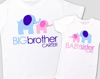 Big brother baby sister elephant sibling Tshirt set