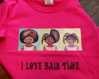 SALE I love Hair Time, pink cotton woman's fitted T-shirt, size L