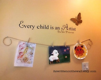 Every Child is an Artist / Art Gallery for Kids /  Kids Art Wall / Artist Corner / Saying Vinyl Lettering Words Quotes