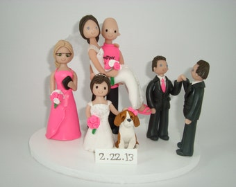 Custom Handmade Family with a Dog Wedding Cake Topper