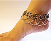 Anklet Flowerette Drape Anklet Stainless Steel Chainmail