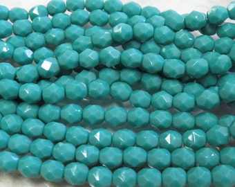 6mm Faceted Opaque Persian Turquoise Czech Firepolished Glass Beads - Qty 25 (DW78)