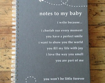 "Baby Journal Notebook ""Notes To My Baby"" in Grey"