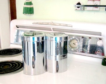 Vintage Kitchen Canisters Chrome Set of 3 1960s Stacking cannisters