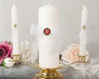 Military Wedding Unity Candle and Taper Set - Air Force - Navy - Army - Marines - 3500