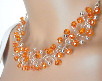 Orange Crystal Wire Necklace, Sparkly Crystal Beaded Jewelry, Twisted Wire Necklace, Tangerine and Silver, Handmade