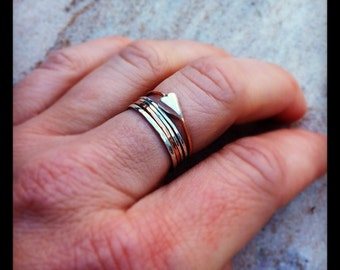 Sculpted Silver Mod Heart w/ 14K Solid Rose Gold Band Stack Ring
