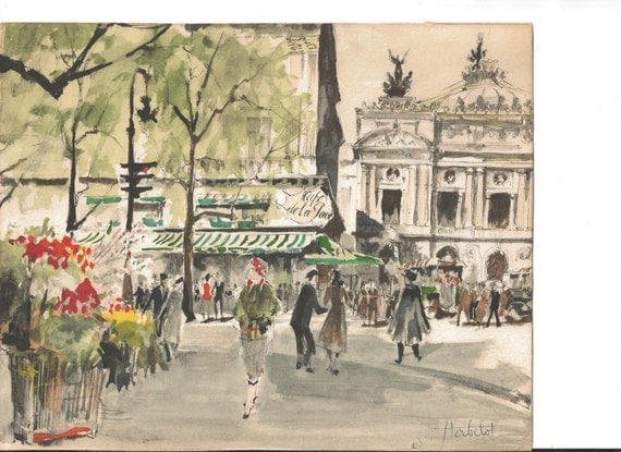 A Pair of Original Franz Herbelot Watercolor Lithographs  Paris street scene 1950s - reserved for jowhitmire