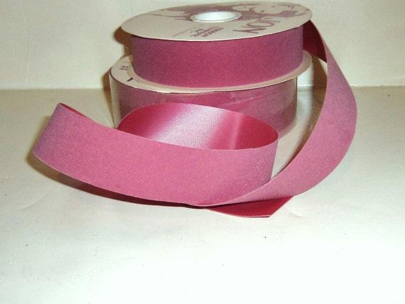 "Vintage PINK Velvet Ribbon Dusty Rose Mauve Satin Back 1 3/8""  Christmas Wedding DIY Craft Supplies 25 yards"