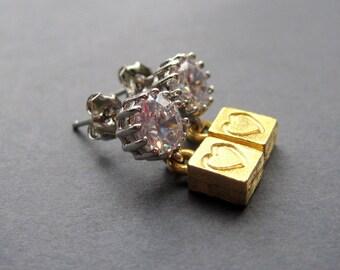 Gold Heart Earrings - Heart Earrings - Bridal Heart Earrings - Cubic Zirconia Heart Earrings