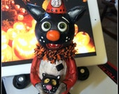 Made to order Halloween black cat Grimmy folk art doll