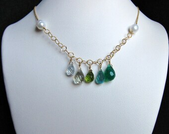 Ombre Gem Necklace- Gold Filled with Pearls