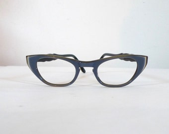 NOS Blue Grey and Taupe Layered Cat Eye Frames, Mad Men Eye Sunglasses/ Women