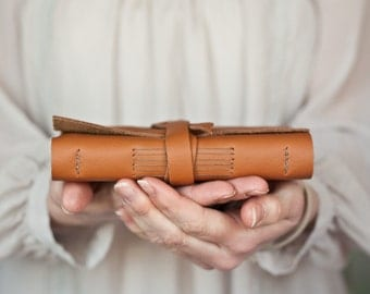 Leather Book - Rust Orange - Tan - Handbound Leather Blank Journal - 6 x 4 - Pumpkin