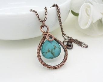 Wire wrapped copper and turquoise necklace, copper necklace, turquoise teardrop gemstone jewelry, handmade copper jewelry