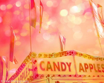 Carnival Photography, Candy Apples Pink Orange, Pink Candy Apple Stand, Baby Girl Nursery Decor, Carnival Prints, Carnival Wall Art Prints,