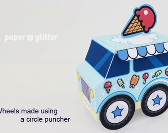 Ice Cream Party Favor Box Truck Paper Craft Toy Blue - Editable Text Printable PDF