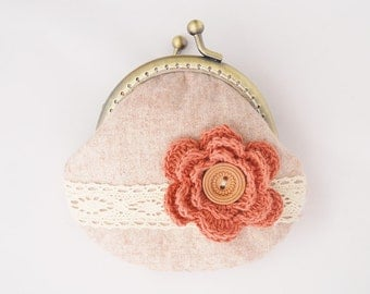 Lace and Crochet Flower Coin Purse Vintage red