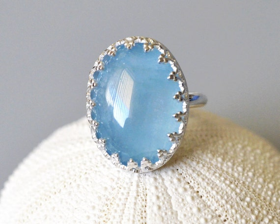 Natural Aquamarine Cabochon Sterling Silver Ring