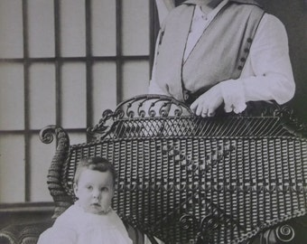 Pretty Mother Admiring her Cute Baby in Ornate Wicker Chair - Real Photo Postcard - early 1900's