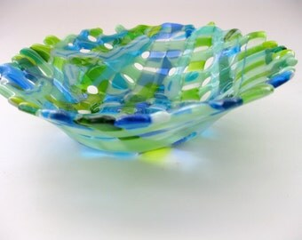 blue green fruit bowl, art glass beach decor