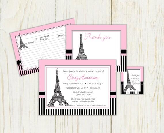 Paris theme bridal shower invitation digital files recipe for Paris themed invitations bridal shower