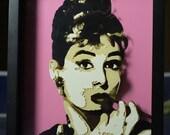 "8"" X 10"" Audrey Hepburn Dimensional Portrait with Frame"