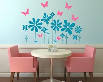 Butterfly Flowers Vinyl Wall Decal Sticker