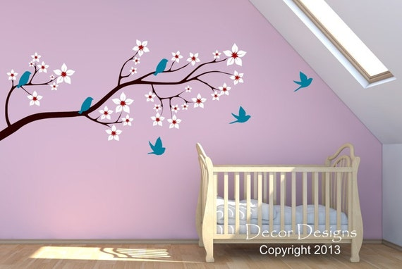 Large Birds on a Blossom Branch Vinyl Wall Decal