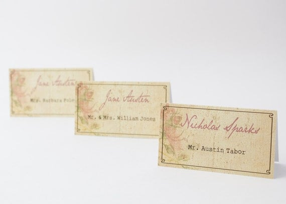 Romantic Author, Movie or Book Themed Place Cards - Wedding Seating Card