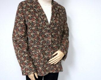 Jacket Vintage Corduroy Blazer Women's Jacket L.L. Bean Floral Blazer Brown Boyfriend Jacket Floral Size 12 Reg
