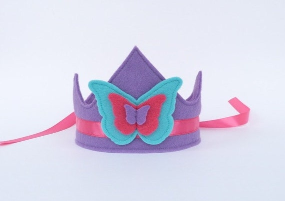 Felt Butterfly Crown with Ribbon Ties -- MADE TO ORDER -- You Choose Colors