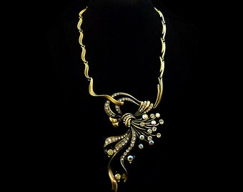 Vintage 80s Statement Necklace Choker HUGE Crystal Rhinestone Piece // Antiqued Brass Asymmetrical Ribbons // Retro Opulent Wedding