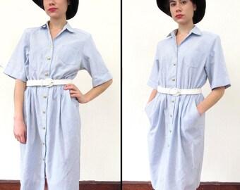 Vintage NAUTICAL STRIPED Shirt Dress L/XL