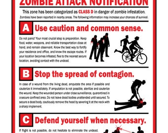 Zombie Danger Sign--Warning, Zombie Attack Notification
