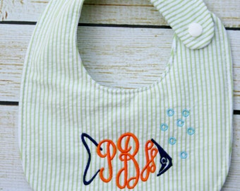 Unique monogrammed fish bib, Personalized bib, Monogrammed bib, Baby shower gift, Seersucker bib, You Customize