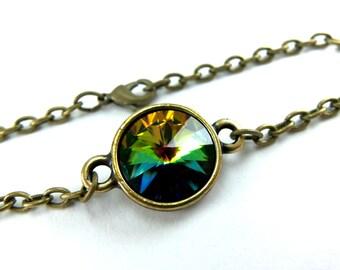 Brass Rainbow Chain Bracelet Multi Color Chain Bracelet Brass Bracelet Rainbow Crystal Bracelet