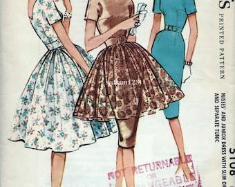 Vintage 1959 Dress with Pleated Full Overskirt Pattern V Back Sheath Slim or Full Skirt 1950s McCalls 5108 Bust 36