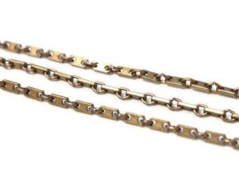 Vintage Chain - Copper Coated Steel Bar Chain, 3 feet