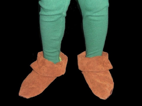 Peter Pan Costume Faux Suede Shoes Or Elf Robin Hood Peasent Style Costume Shoes Custom Made For any Child Size