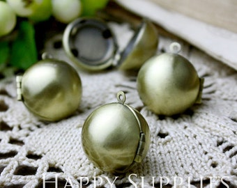 5pcs 17mm Antique Bronze Globe Brass Ball Locket Pendants /Charms (ZL08)