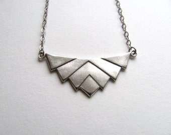 Art deco chevron pendant bib necklace on antiqued silver plate chain, vintage geometric pendant, upcycled geometric jewelry