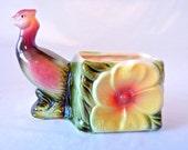 Hull Pheasant Bird Planter Vibrant Yellow, Green, Pink Ceramic from 1961
