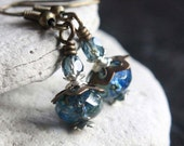 Green/Blue Czech Glass Bead Earrings - A.1561